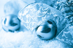 Christmas balls and gift ribbon Royalty Free Stock Photos
