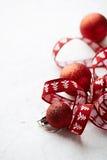 Christmas balls and gift ribbon Royalty Free Stock Photography