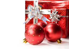Christmas balls and gifts Royalty Free Stock Photos