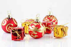 Christmas balls and gifts stock image