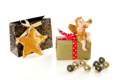 Christmas-balls gifts and an angel Royalty Free Stock Photos