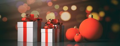 Christmas balls and gifts on bokeh background. 3d illustration. Red Christmas balls and gift boxes on bokeh festive background. 3d illustration Royalty Free Stock Images