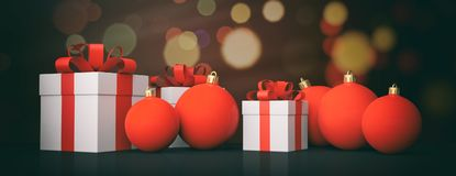 Christmas balls and gifts on bokeh background. 3d illustration. Red Christmas balls and gift boxes on bokeh festive background. 3d illustration Royalty Free Stock Photography