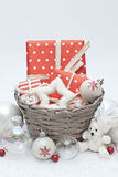 Christmas. Balls, gifts and decoration Royalty Free Stock Images