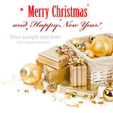Christmas balls and gifts Royalty Free Stock Images