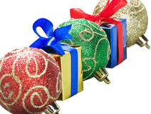 Christmas balls and gifts isolated Royalty Free Stock Photos