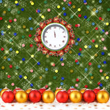 Christmas balls and gifts to the clock Royalty Free Stock Images