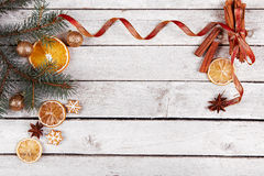 Christmas balls, gingerbread and dried oranges Stock Images