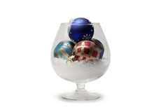 Christmas balls in a glass isolated Royalty Free Stock Photography