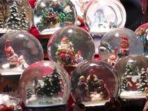 Christmas balls. Glass balls with snow magic Stock Photo