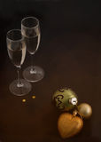 Christmas balls and glasses Stock Images