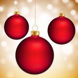 Christmas balls and gold abstract background. With place for text Royalty Free Stock Photos