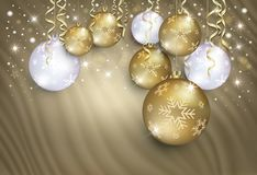 Christmas balls on a gold background from a curtain, congratulations card vector illustration