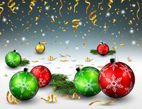 Christmas balls and gold confetti background Stock Photo