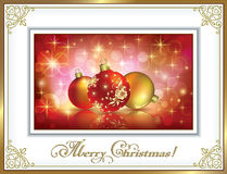 Christmas balls in a gold frame Royalty Free Stock Images