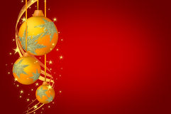 Christmas Balls Gold Red Background. A  or illustration of gold Christmas balls with snowflakes design and sparkles around it on red backround Stock Images