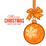 Christmas balls with gold ribbon and bows, greeting card template Stock Images