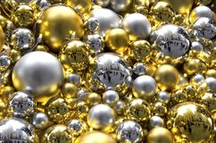 Christmas Balls. Gold and silver Christmas ornaments stock photos