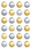 Christmas Balls Gold Silver Pattern Stock Photos