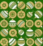 Christmas balls, gold, white, green background, seamless. Royalty Free Stock Photography