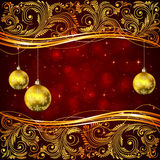 Christmas balls and golden floral elements Stock Images