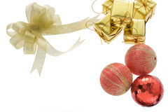 Christmas balls and golden gift boxes on white . Royalty Free Stock Photography