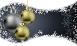 Christmas balls in a golden gray design on the background of sno. Wflakes, vector art illustration stock illustration