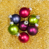 Christmas balls in a golden nest Royalty Free Stock Photo