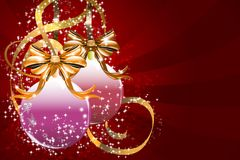 Christmas balls and golden ribbons Stock Images