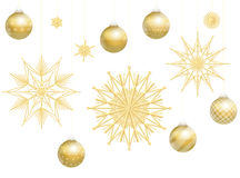 Christmas Balls Golden Straw Stars Decoration Royalty Free Stock Photography