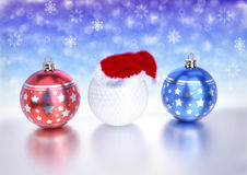 Christmas balls and golf ball with santa red hat on bokeh background. 3D render