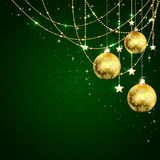 Christmas balls on green background Royalty Free Stock Photo