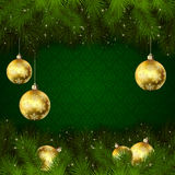 Christmas balls on green background Royalty Free Stock Image
