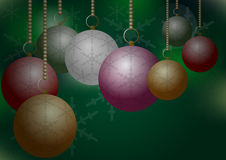 Christmas Balls on Green Backround Stock Image