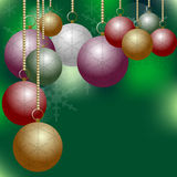 Christmas Balls on Green Backround Royalty Free Stock Photography
