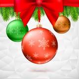 Christmas balls, green fir branches, bow, triangles background. Gold Christmas balls with green fir branches and bow on the background made of triangles Royalty Free Stock Photos