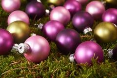 Christmas balls on green moss. Colorful Christmas balls on green moss Royalty Free Stock Images