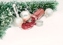 Christmas balls with green ornaments Royalty Free Stock Image