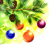 Christmas balls on green spruce branch. Watercolor painting on white background Stock Photos