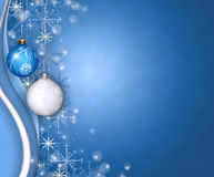 Christmas balls greeting. Blue christmas greeting with balls and snowflakes royalty free illustration