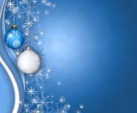 Christmas balls greeting. Blue christmas greeting with balls and snowflakes Royalty Free Illustration