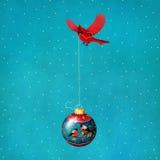 Christmas balls. Greeting card or poster with glass Christmas balls and bird cardinal. Computer graphics vector illustration