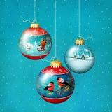 Christmas balls. Greeting card or poster with glass Christmas balls. Computer graphics stock illustration