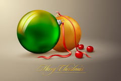 Christmas balls greeting card | on separate layers Royalty Free Stock Photography