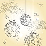 Christmas balls. Hand drawn Christmas balls. Vintage style Stock Photo