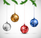 Christmas balls hanging Royalty Free Stock Images