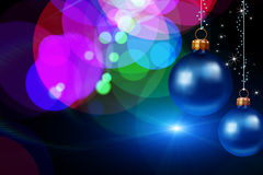 Christmas balls hanging on abstract background. Christmas and New-Year's greeting card vector illustration