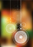 Christmas balls hanging on bokeh background Stock Image