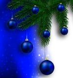 Christmas balls hanging on the Christmas tree. Vector art illustration Royalty Free Stock Image