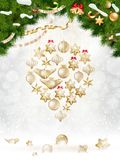 Christmas balls hanging on fir tree. EPS 10. Vector file included Royalty Free Stock Photography